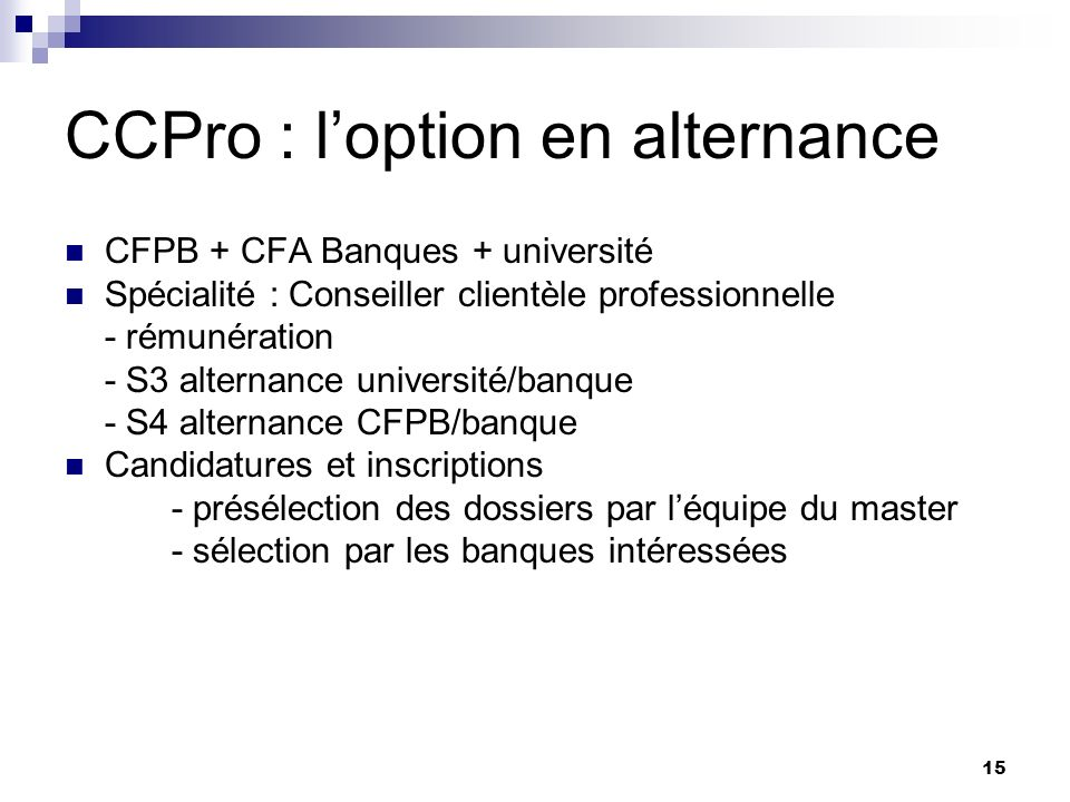 CCPro : l'option en alternance