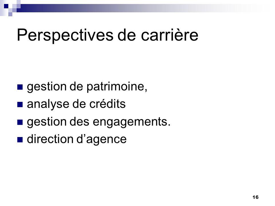 Perspectives de carrière