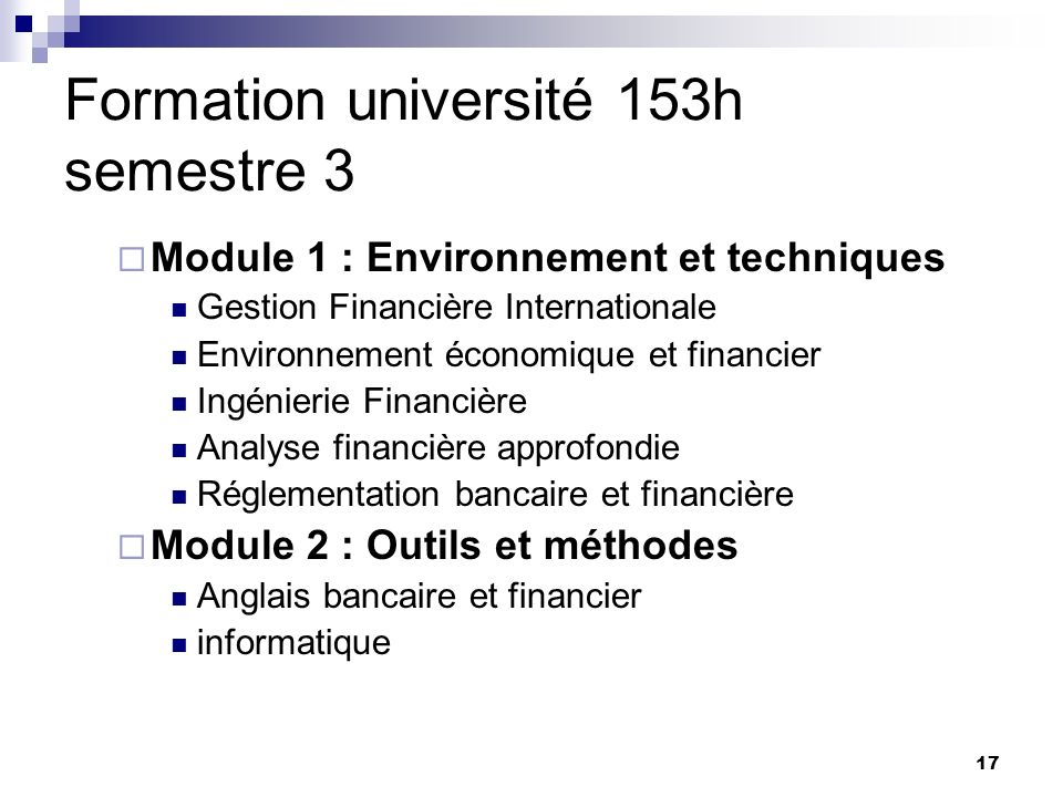 Formation université 153h semestre 3