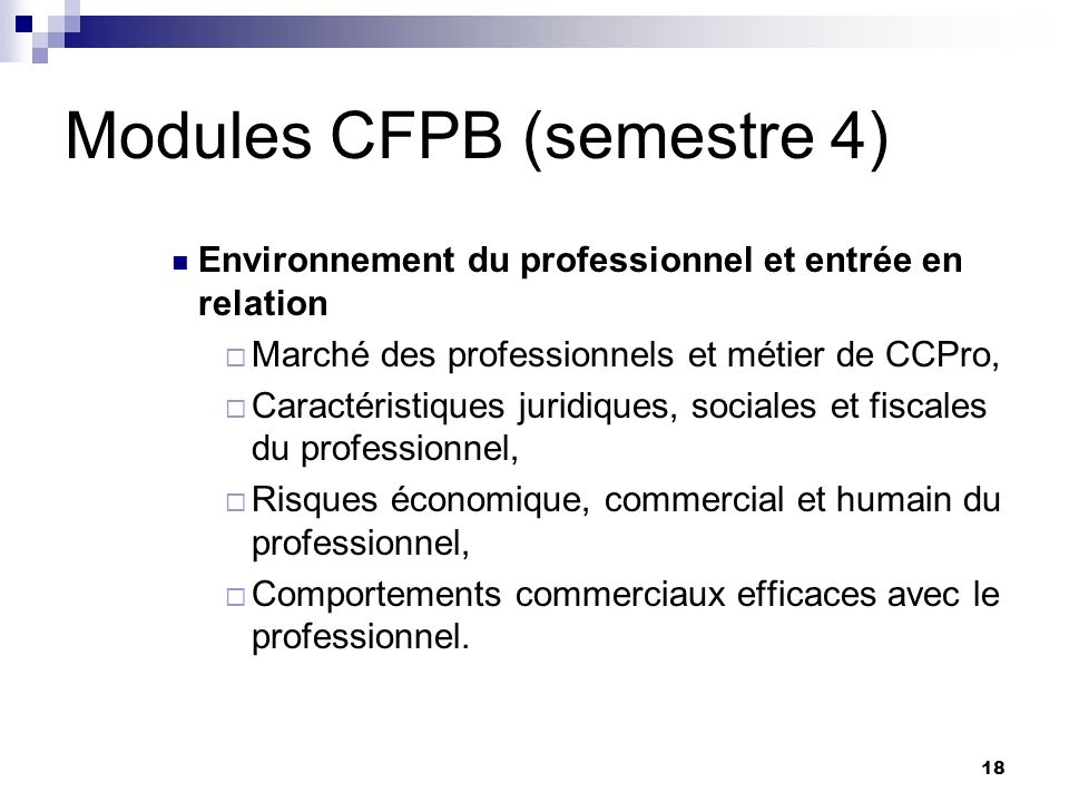 Modules CFPB (semestre 4)
