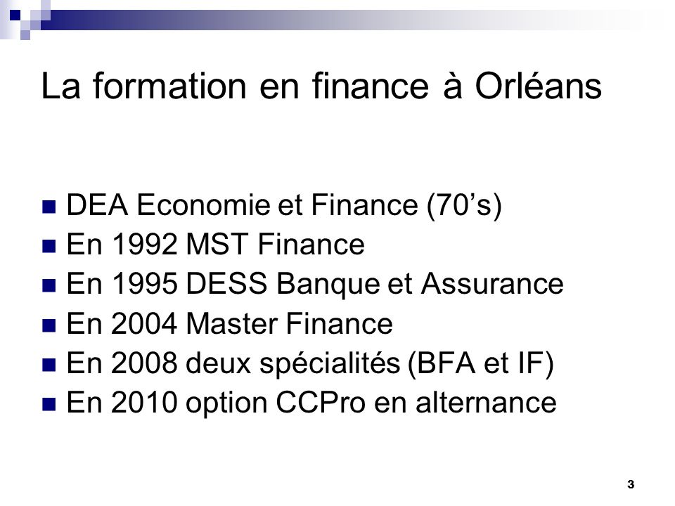 La formation en finance à Orléans