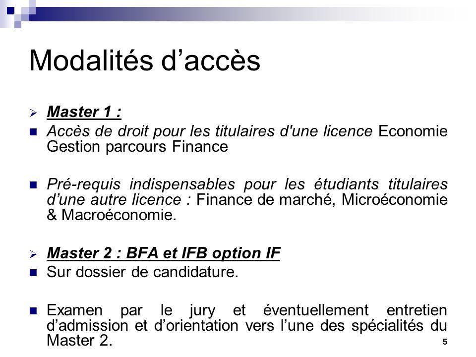 Modalités d'accès Master 1 :