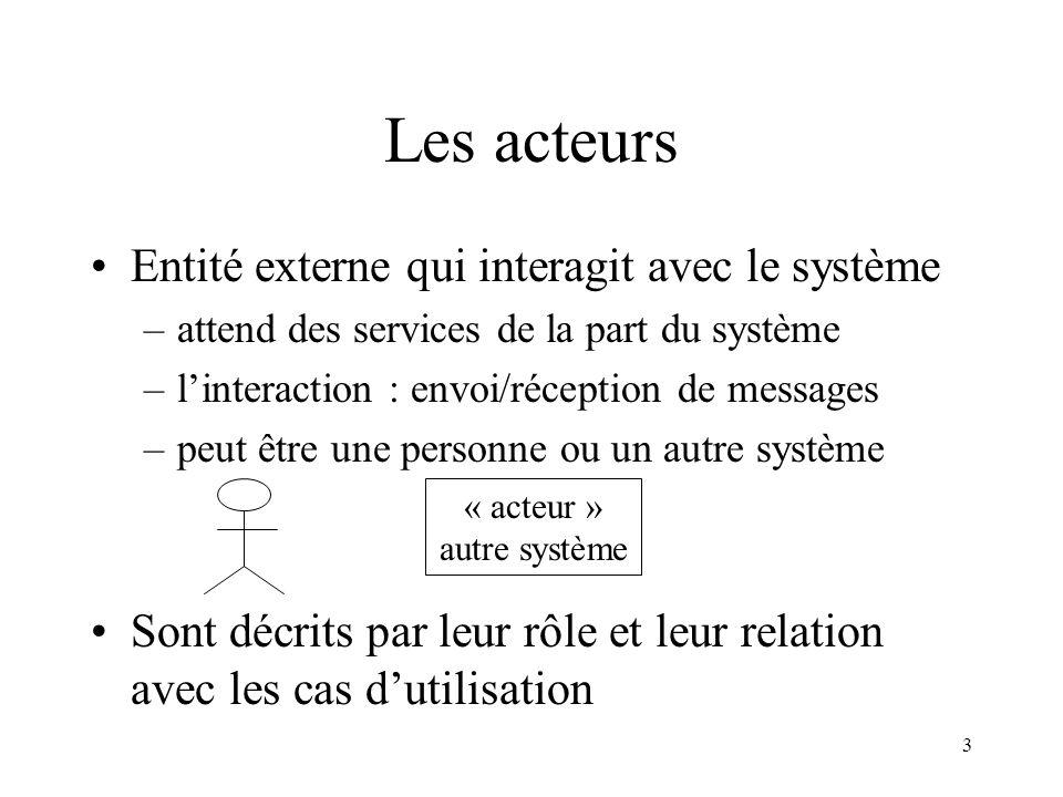 Les acteurs Entité externe qui interagit avec le système