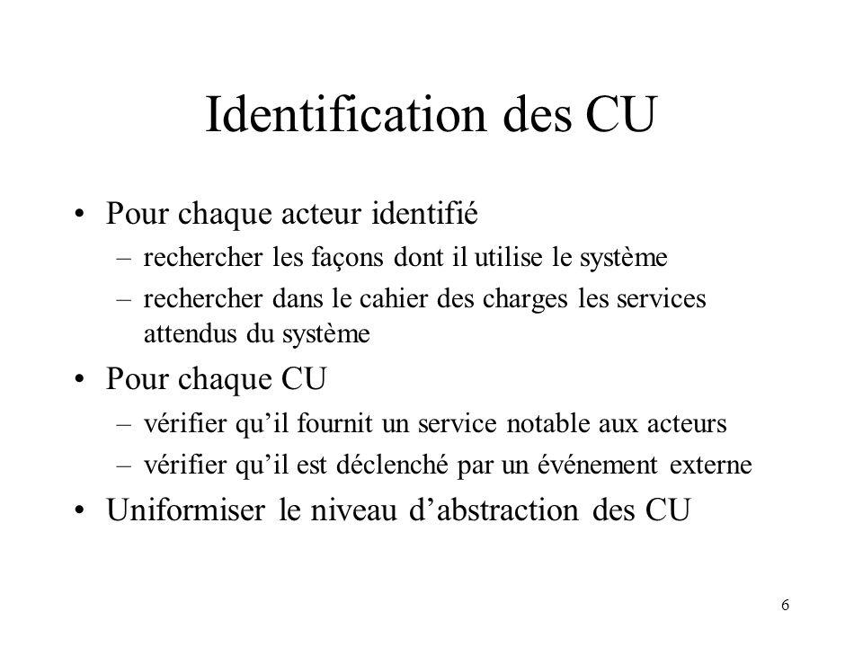 Identification des CU Pour chaque acteur identifié Pour chaque CU
