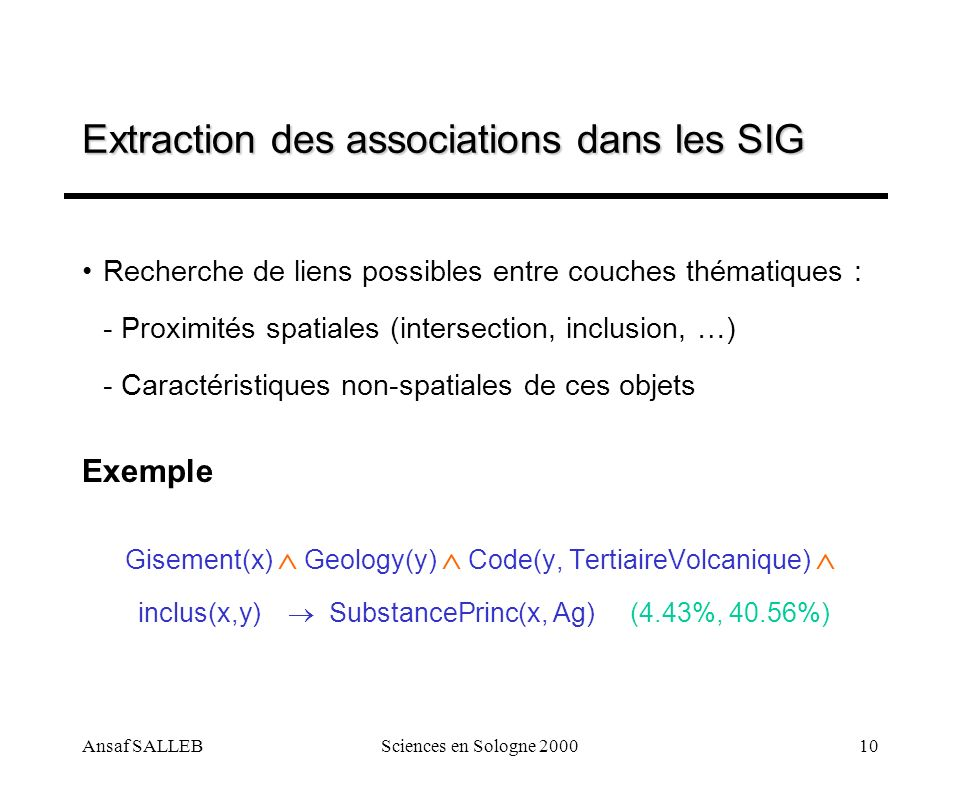 Extraction des associations dans les SIG