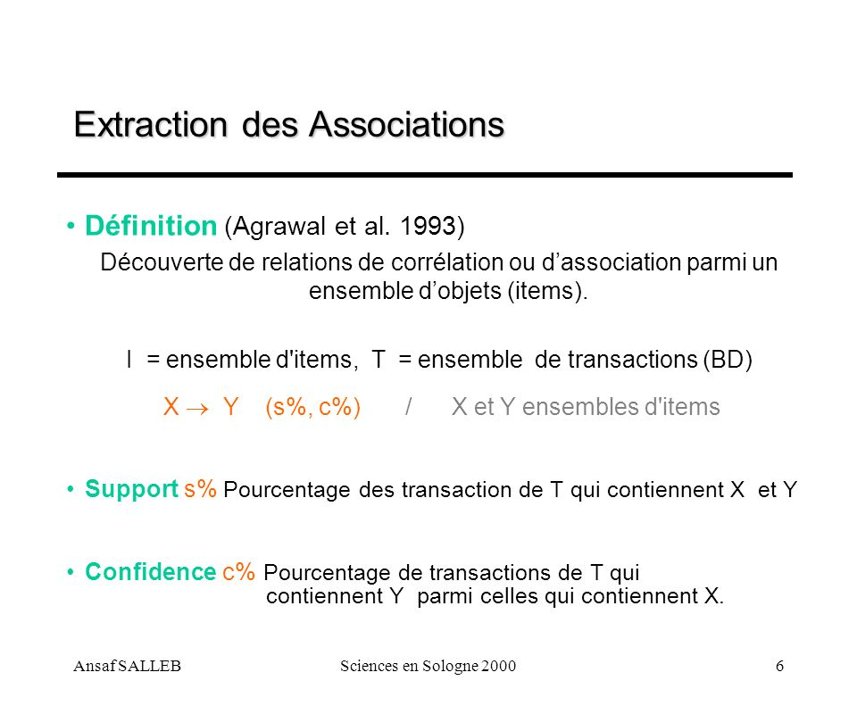 Extraction des Associations