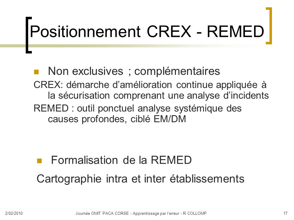 Positionnement CREX - REMED