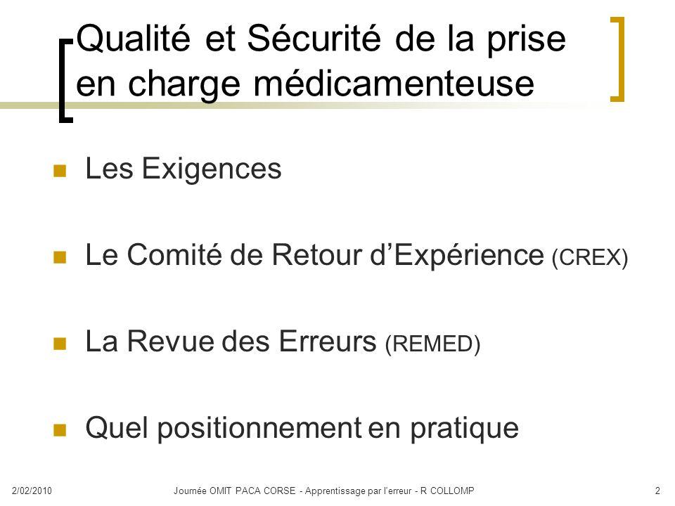 Qualité et Sécurité de la prise en charge médicamenteuse