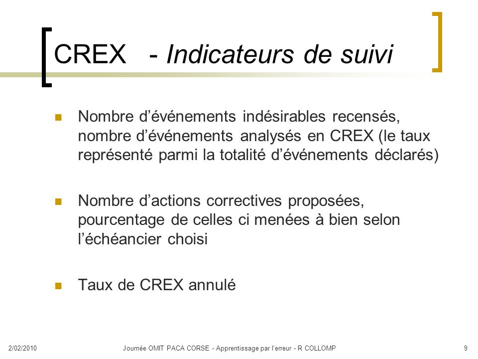 CREX - Indicateurs de suivi
