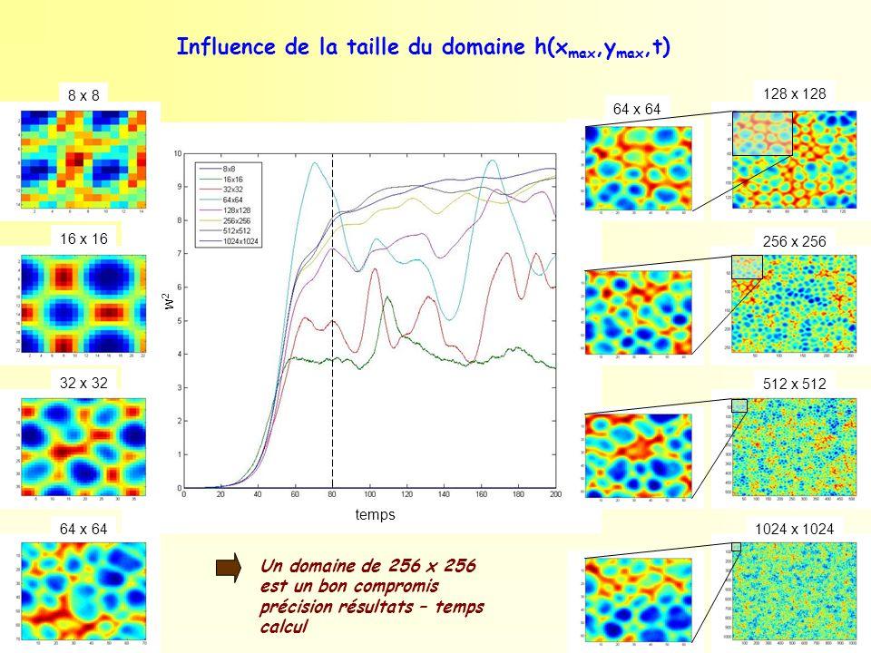 Influence de la taille du domaine h(xmax,ymax,t)