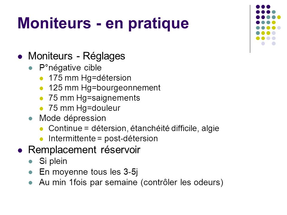 Moniteurs - en pratique