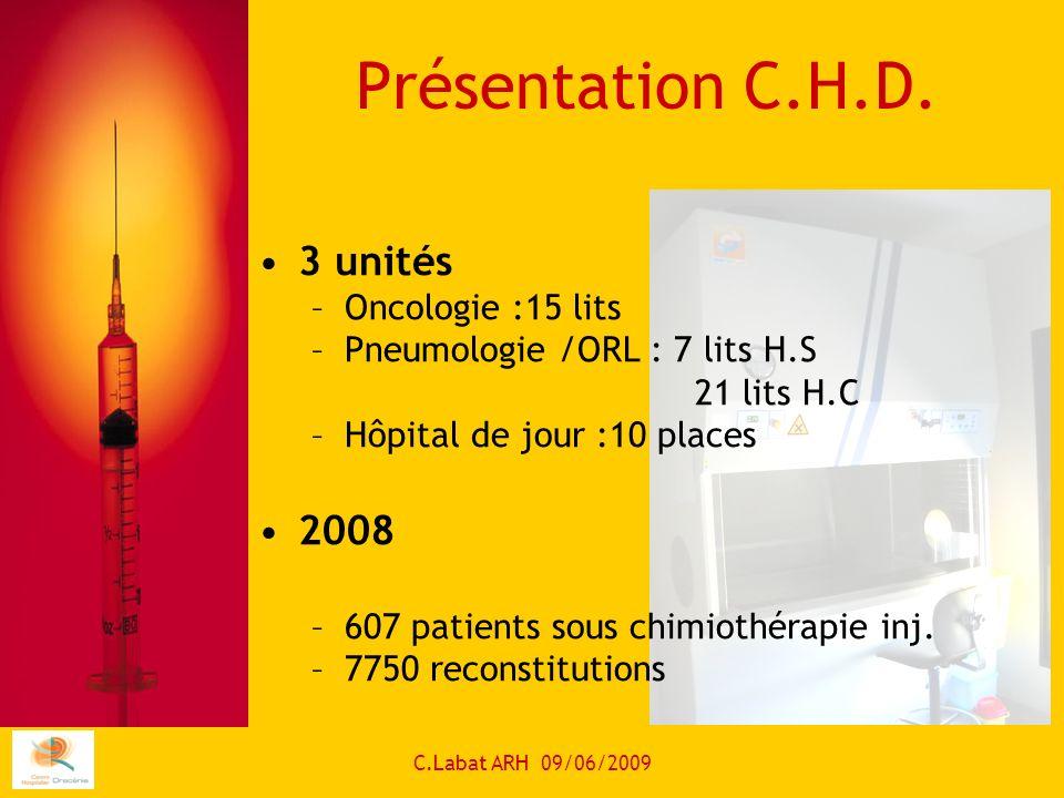 Présentation C.H.D. 3 unités 2008 Oncologie :15 lits