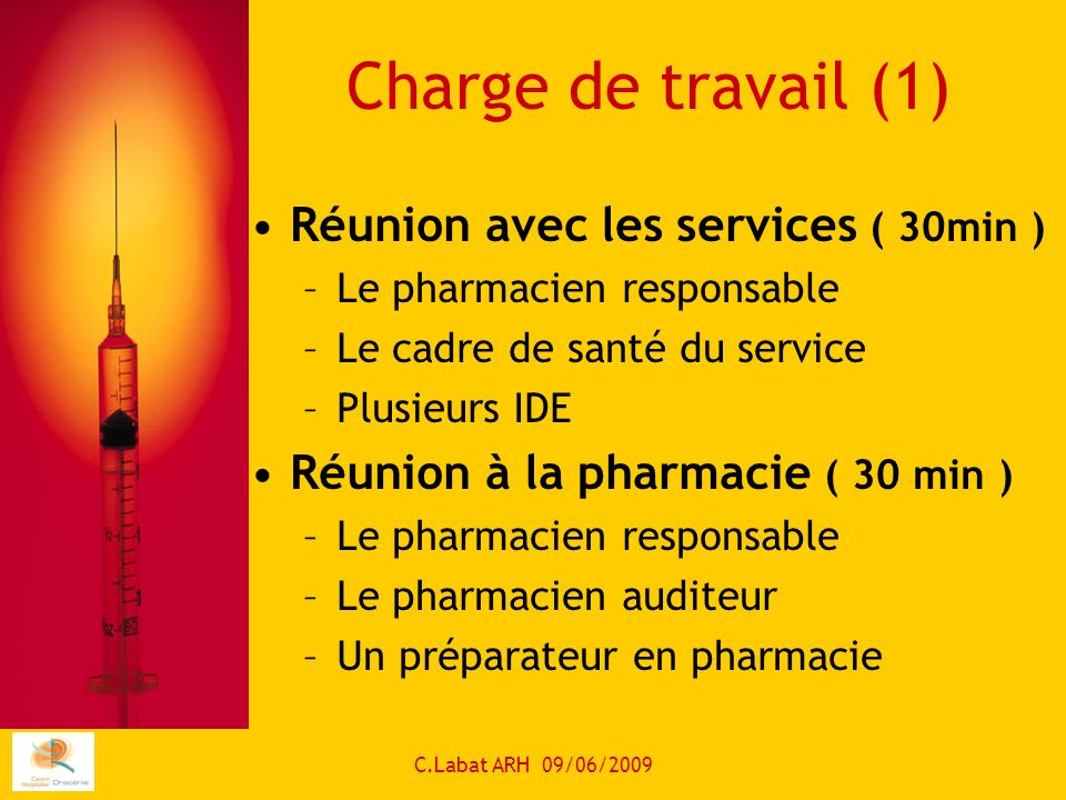 Charge de travail (1) Réunion avec les services ( 30min )