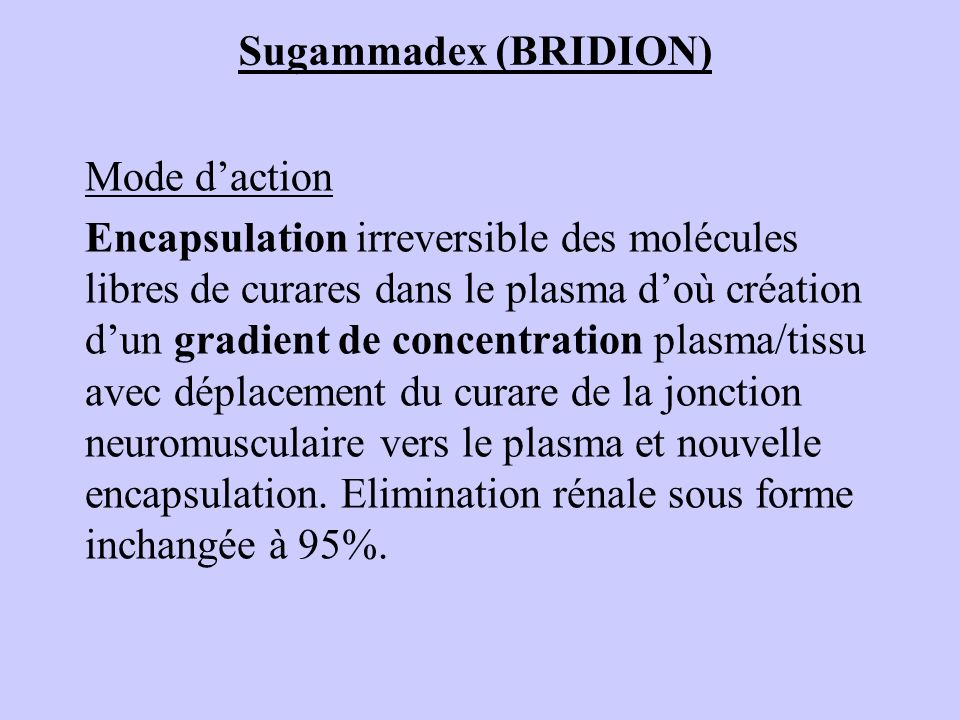 Sugammadex (BRIDION) Mode d'action.