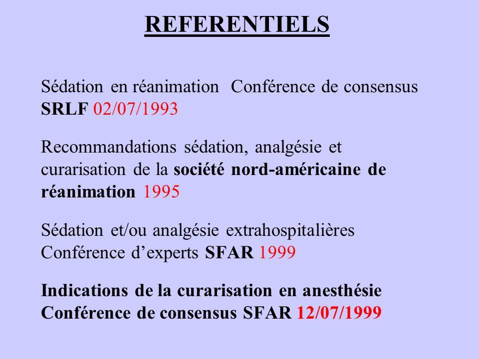 REFERENTIELS Sédation en réanimation Conférence de consensus SRLF 02/07/1993.