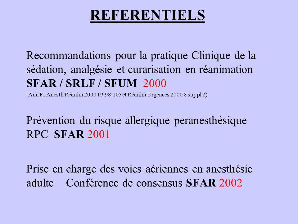 REFERENTIELS Recommandations pour la pratique Clinique de la sédation, analgésie et curarisation en réanimation SFAR / SRLF / SFUM 2000.