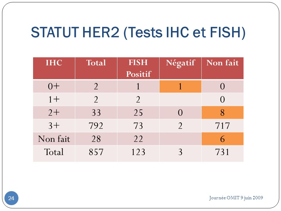 STATUT HER2 (Tests IHC et FISH)