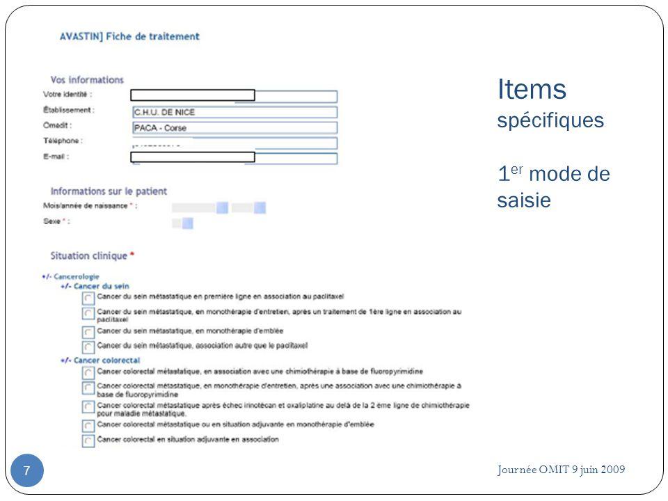 Items spécifiques 1er mode de saisie