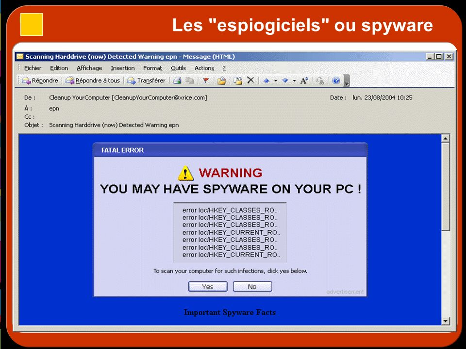 Les espiogiciels ou spyware