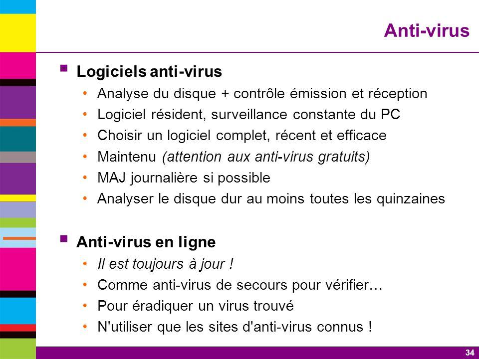 Anti-virus Logiciels anti-virus Anti-virus en ligne