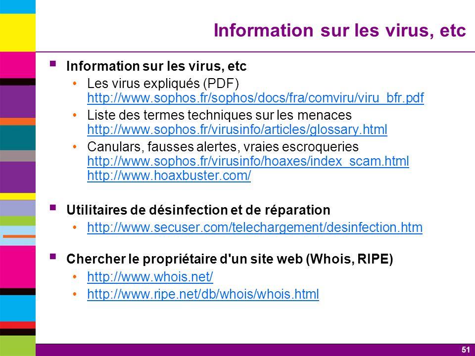 Information sur les virus, etc