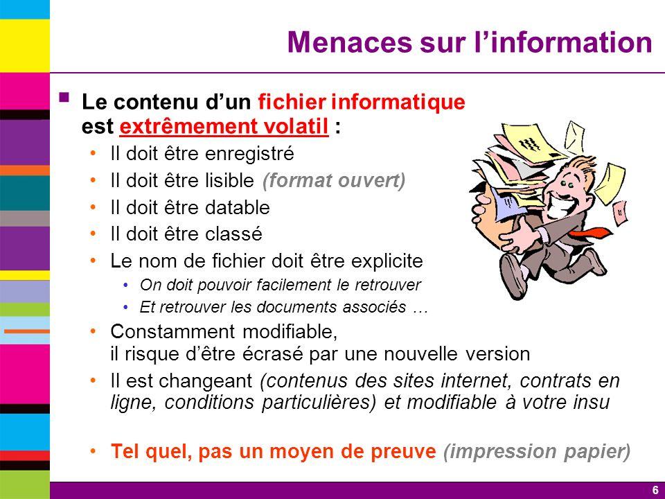 Menaces sur l'information