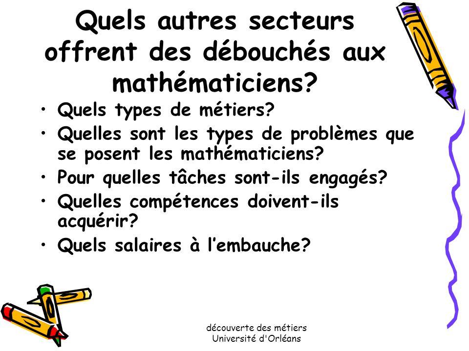 Quels autres secteurs offrent des débouchés aux mathématiciens