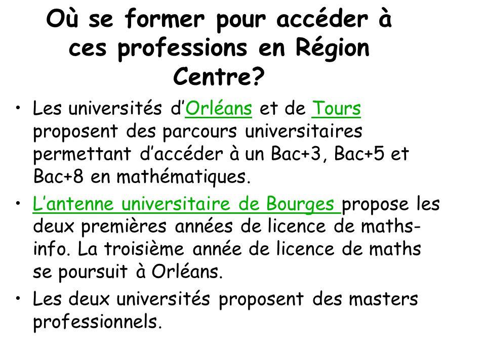 Où se former pour accéder à ces professions en Région Centre
