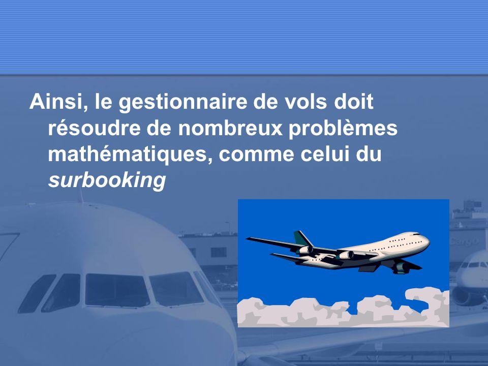 Ainsi, le gestionnaire de vols doit résoudre de nombreux problèmes mathématiques, comme celui du surbooking