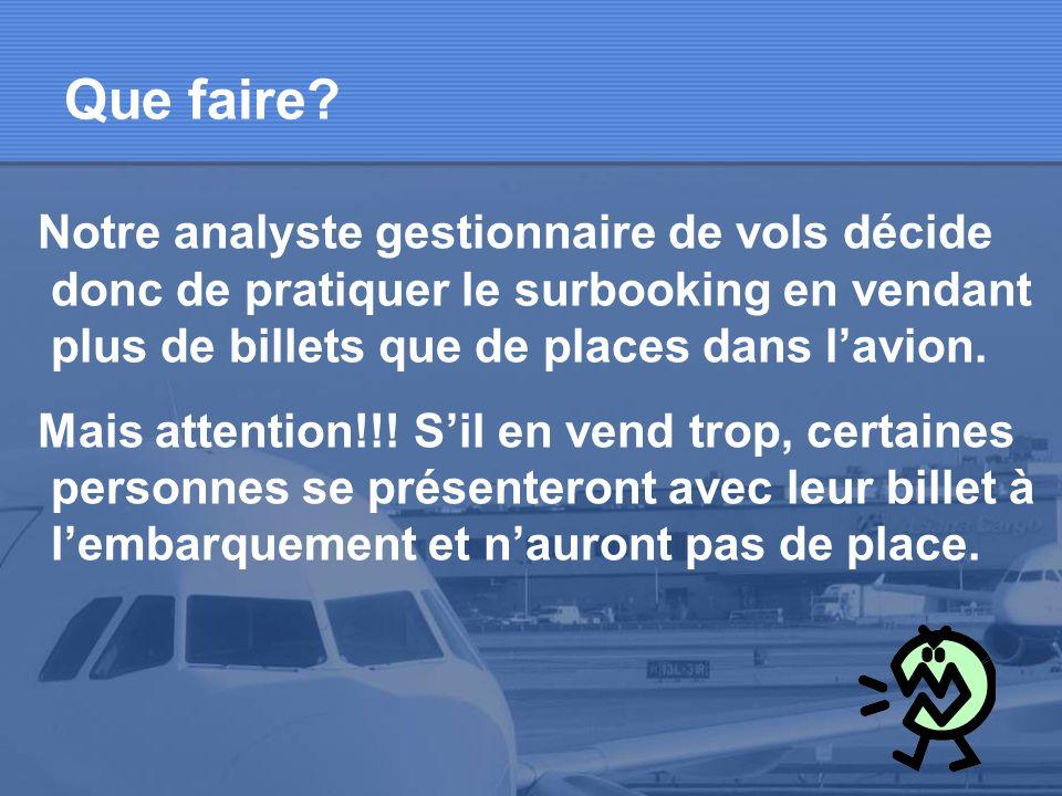 Que faire Notre analyste gestionnaire de vols décide donc de pratiquer le surbooking en vendant plus de billets que de places dans l'avion.