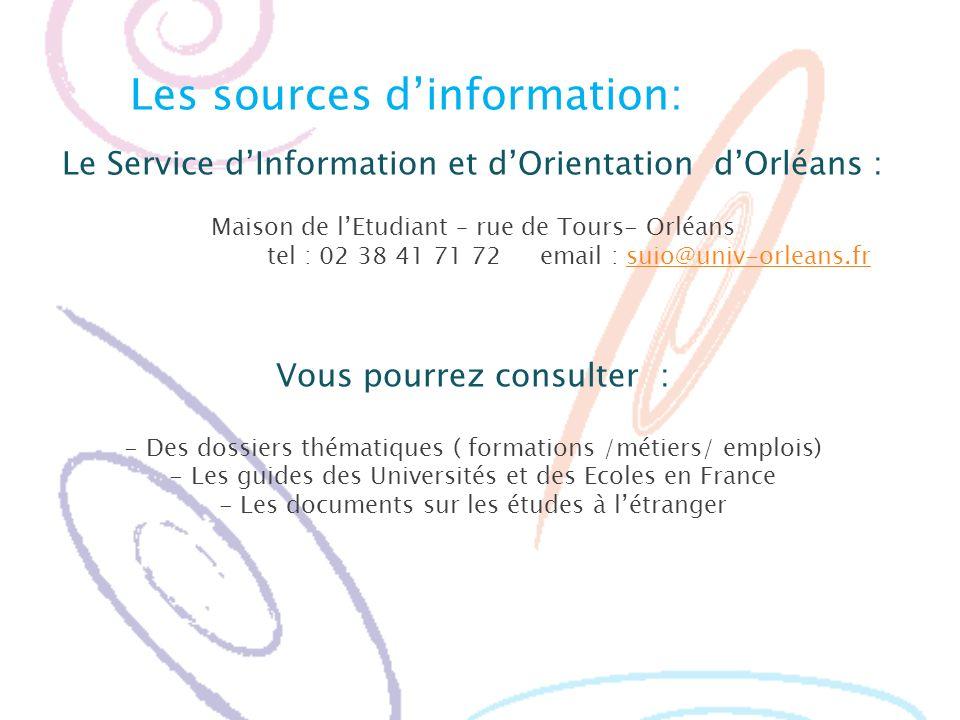 Les sources d'information: