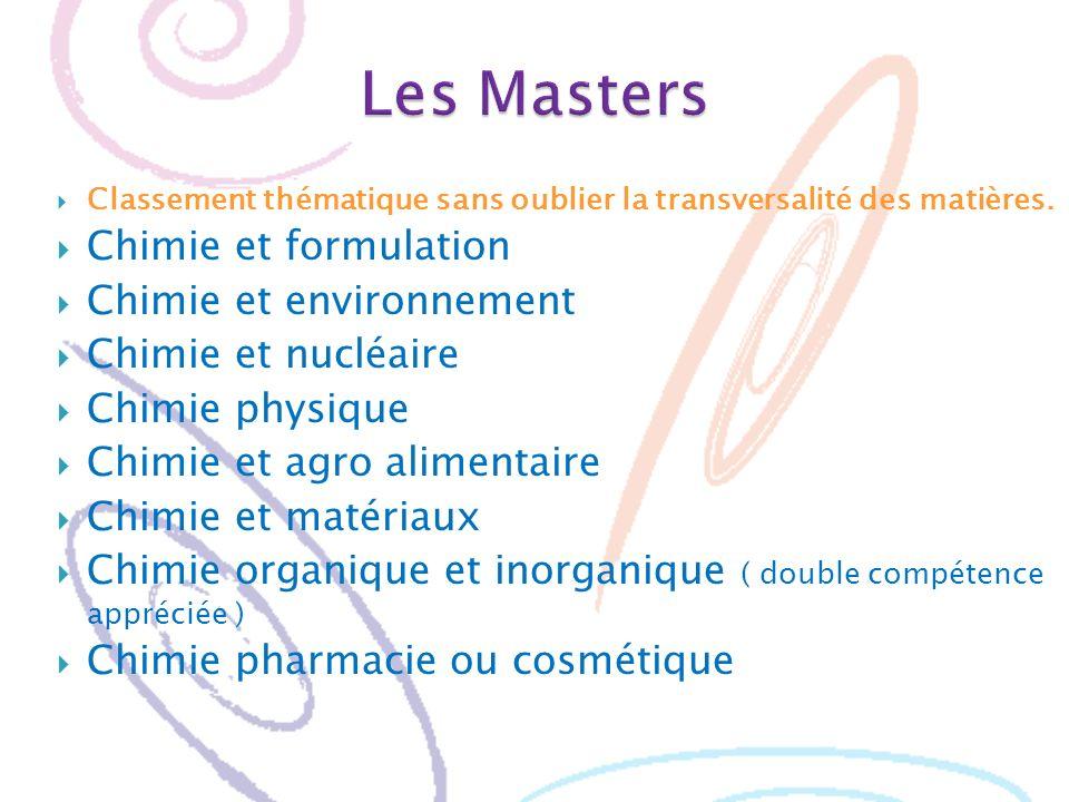 Les Masters Chimie et formulation Chimie et environnement