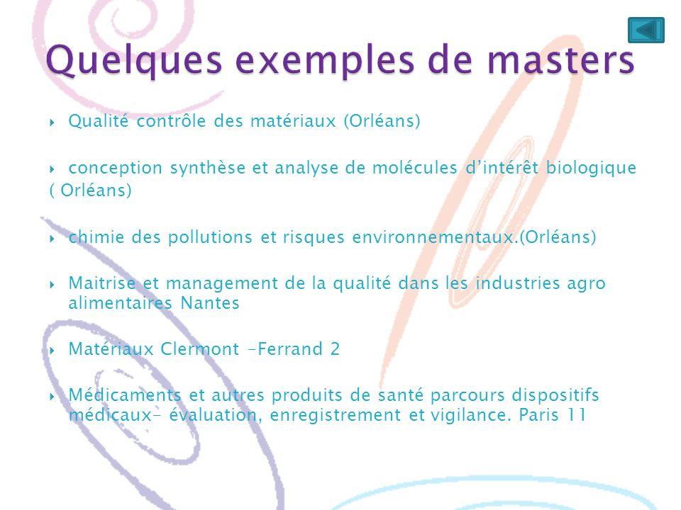 Quelques exemples de masters