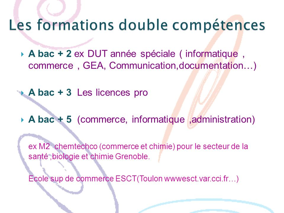 Les formations double compétences
