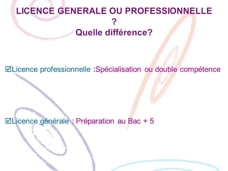 LICENCE GENERALE OU PROFESSIONNELLE Quelle différence