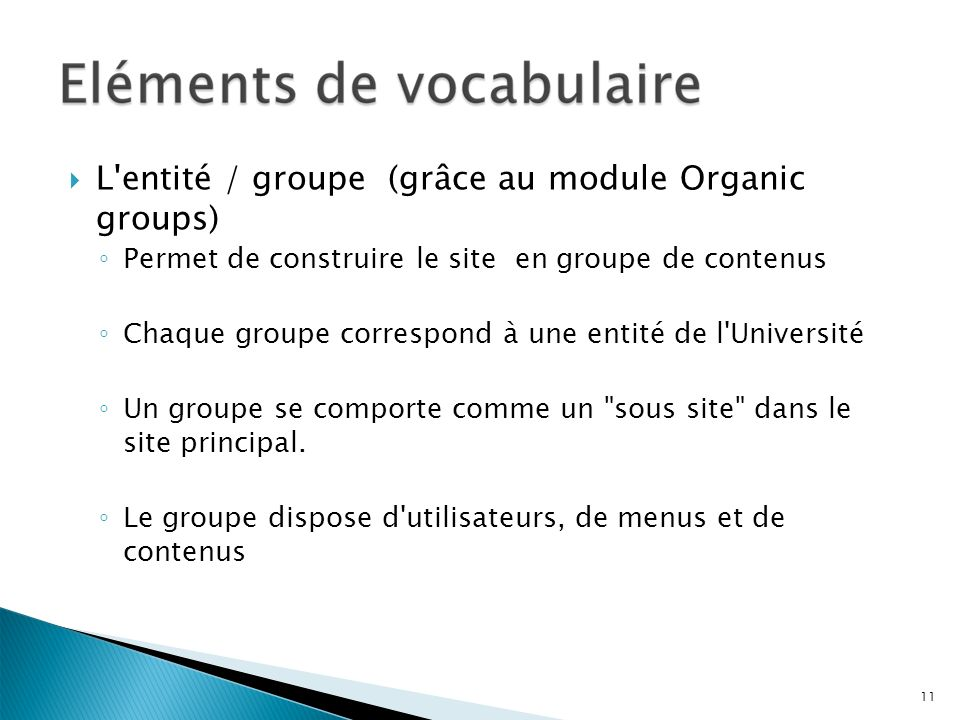 L entité / groupe (grâce au module Organic groups)