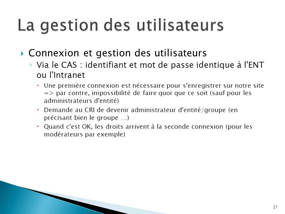 Connexion et gestion des utilisateurs