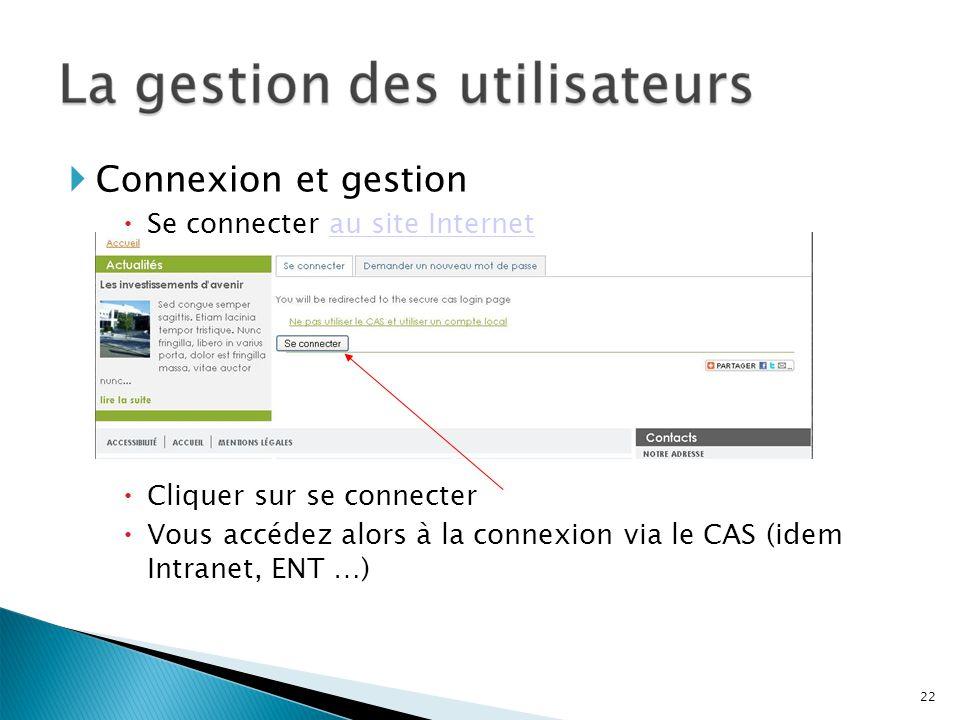 Connexion et gestion Se connecter au site Internet