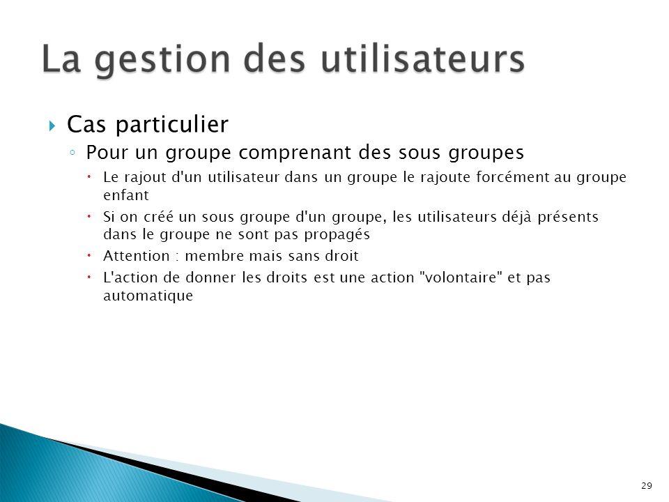 Cas particulier Pour un groupe comprenant des sous groupes