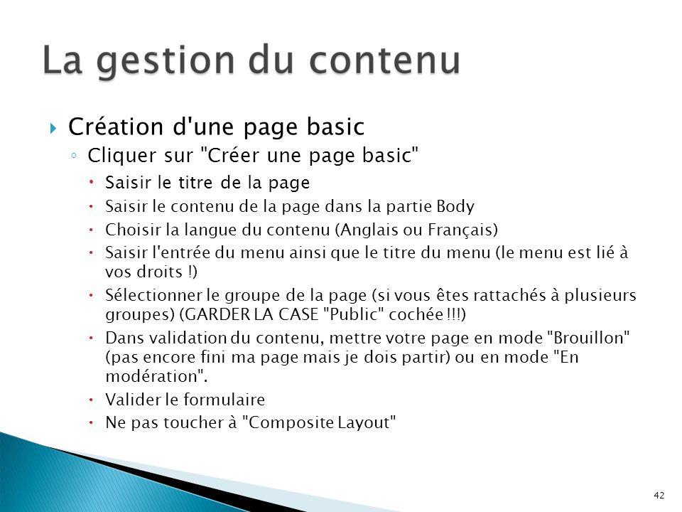 Création d une page basic