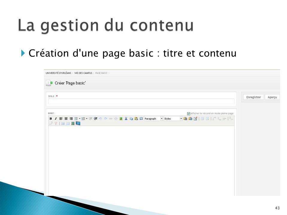 Création d une page basic : titre et contenu
