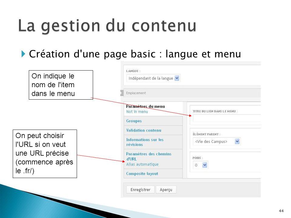 Création d une page basic : langue et menu