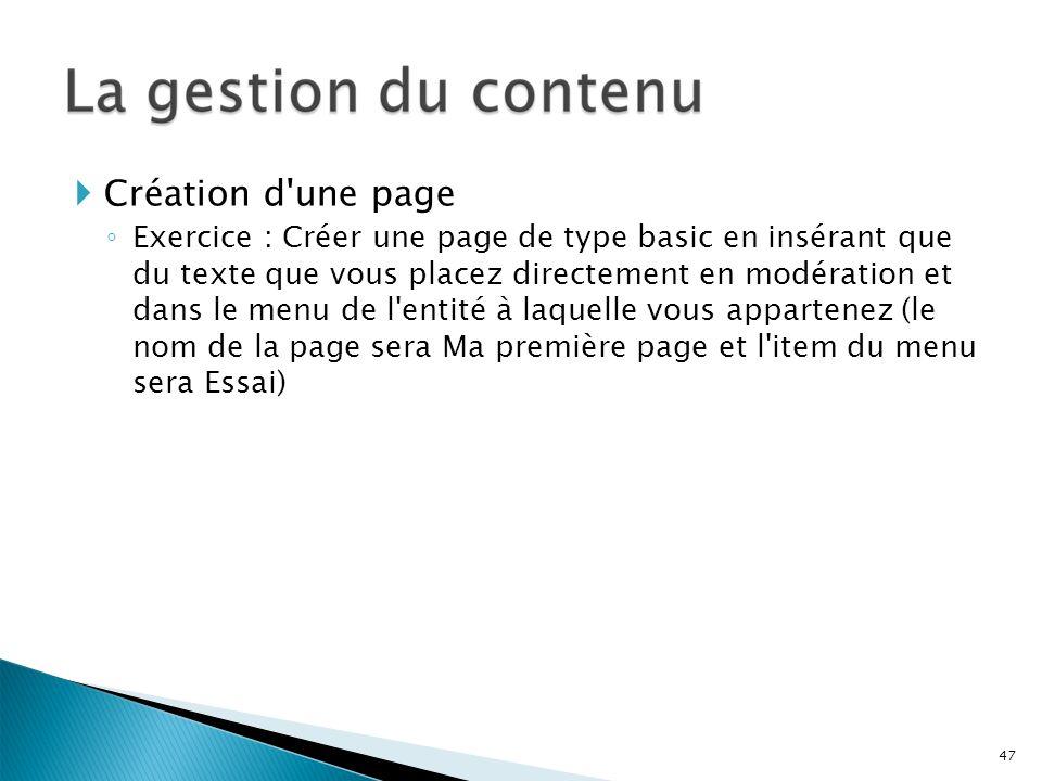 Création d une page