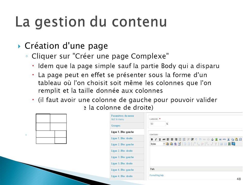 Création d une page Cliquer sur Créer une page Complexe