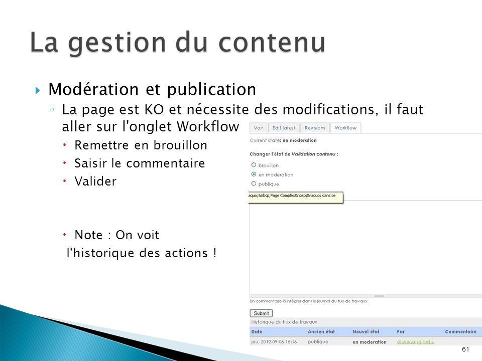 Modération et publication