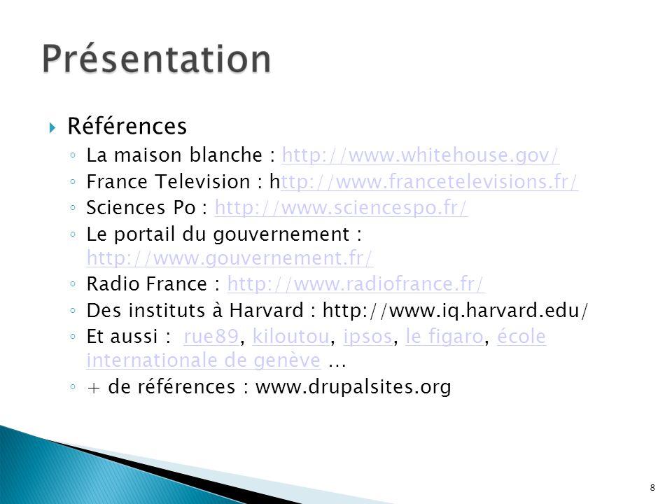 Références La maison blanche : http://www.whitehouse.gov/
