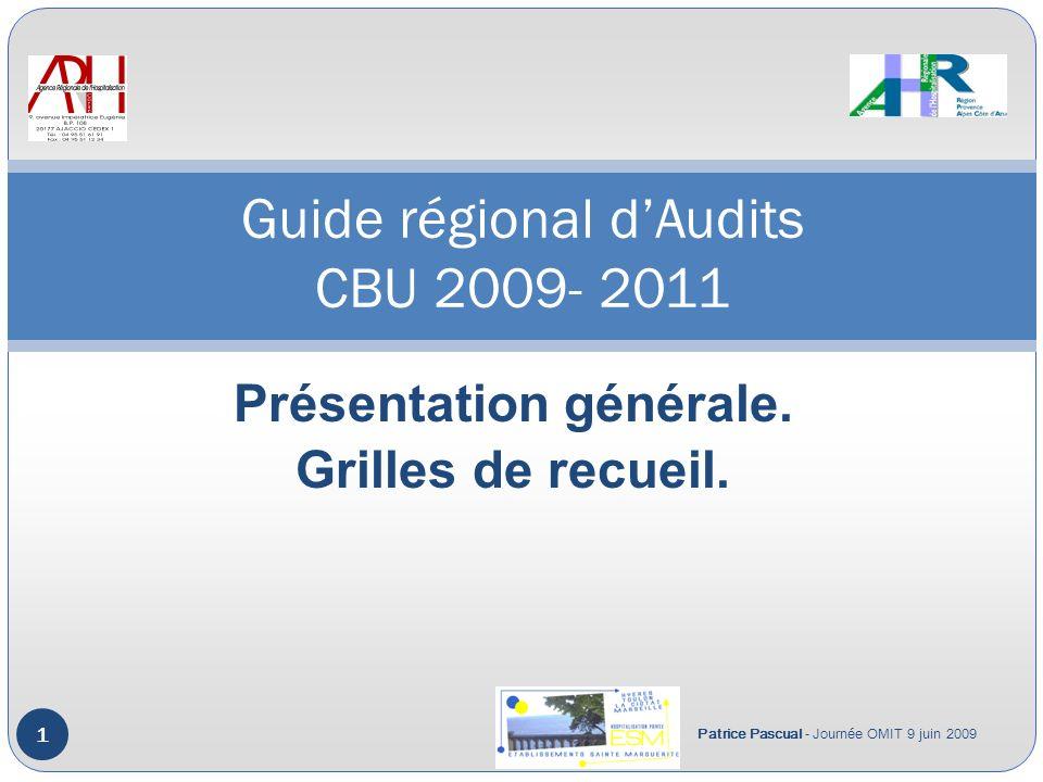 Guide régional d'Audits CBU 2009- 2011