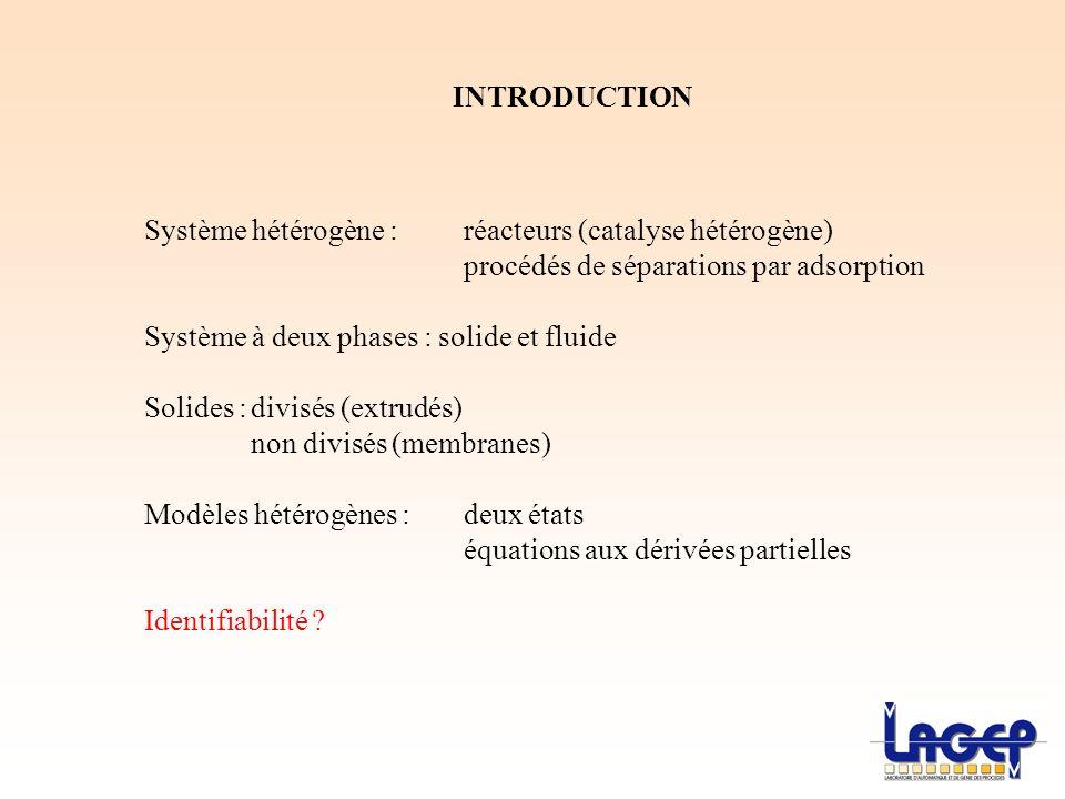 INTRODUCTION Système hétérogène : réacteurs (catalyse hétérogène) procédés de séparations par adsorption.