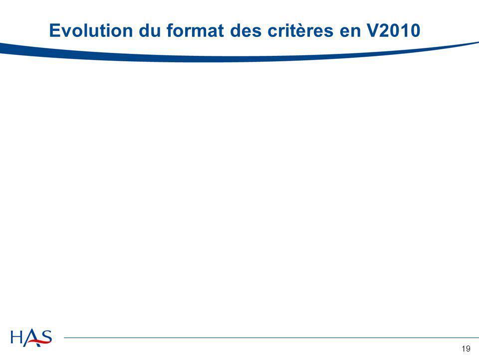 Evolution du format des critères en V2010