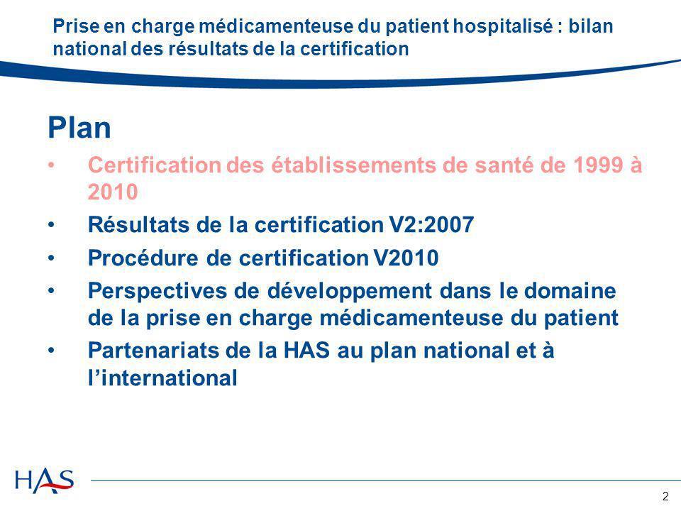 Plan Certification des établissements de santé de 1999 à 2010